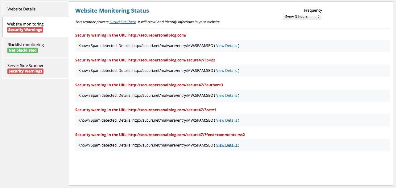 Website monitoring log showing security warnings